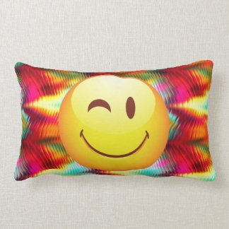 Cute Winking Happy Face and Bright Colors Lumbar Pillow