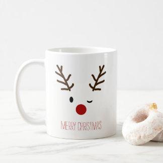 Cute Winking Rudolf Reindeer Christmas Coffee Coffee Mug