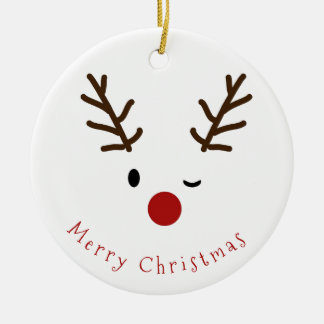 Cute Winking Rudolf Reindeer Photo Christmas Ceramic Ornament