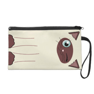 Cute Winking Siamese Cat Cartoon Wristlet Purses