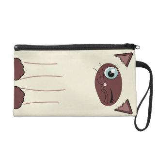 Cute Winking Siamese Cat Cartoon Wristlet Clutches