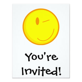 "cute winking smiley face 4.25"" x 5.5"" invitation card"