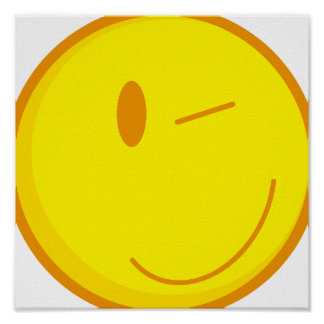 cute winking smiley face poster