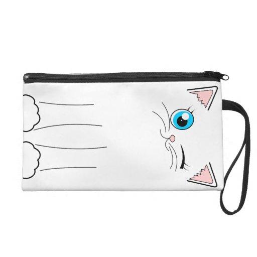 Cute Winking White Cat Cartoon Wristlet Clutch
