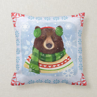 Cute Winter Bear with Scarf  Illustrated Pillow