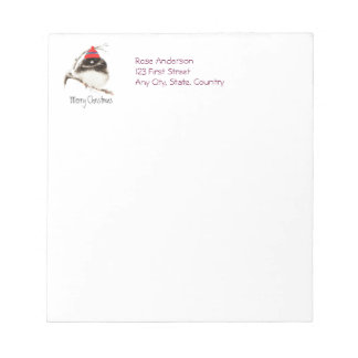 Cute Winter Bird in Hat, Christmas, Humor, Junco Notepad