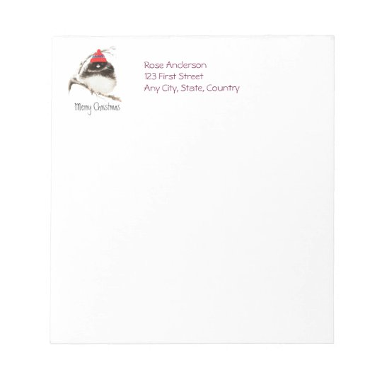 Cute Winter Bird in Hat, Christmas, Humour, Junco Notepad