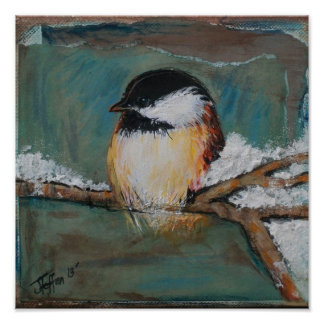 Cute Winter Black Capped Chickadee | Poster