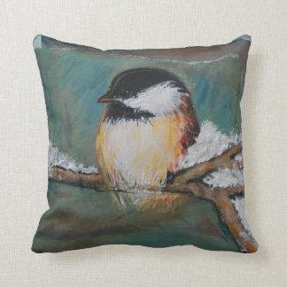 Cute Winter Black Capped Chickadee Throw Pillow