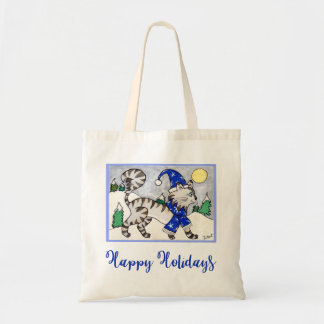Cute Winter Cat in Blue Hat & Scarf Snow Holiday Tote Bag
