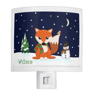 Cute winter fox and custom name nite light