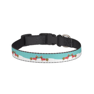 Cute Winter Kissing Dachshunds small dog collar