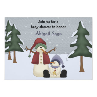 Cute Winter Snowman Boys Baby Shower Card