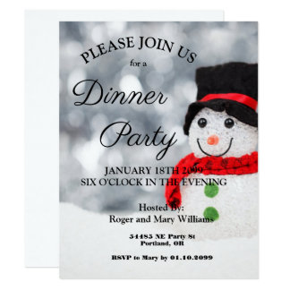 Cute Winter Snowman Dinner Party Invitation