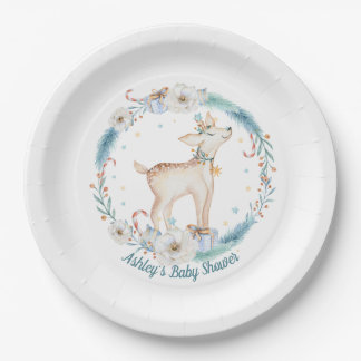 Cute Winter Woodland Baby Shower Paper Plate