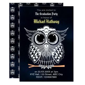 Cute Wise Owl Mandala Doodle Henna Pattern Card