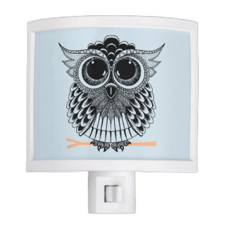 Cute Wise Owl Mandala Doodle Henna Pattern Nite Lights
