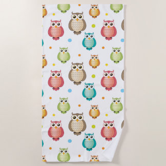 Cute Wise Owls Pattern Beach Towel