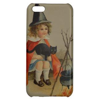 Cute Witch Black Cat Cauldron Fire Case For iPhone 5C