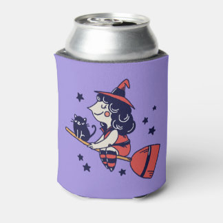 Cute Witch custom monogram can cooler