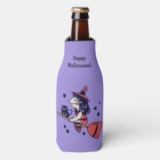 Cute Witch custom name Halloween bottle cooler