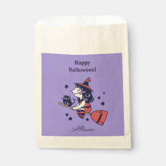 Cute Witch custom name Halloween favor bags