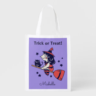 Cute Witch custom name Halloween reusable bag