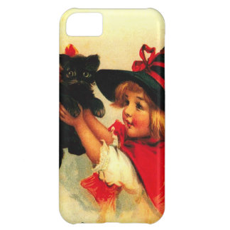 Cute Witch Girl Black Cat Cover For iPhone 5C