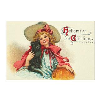 Cute Witch Girl Black Cat Pumpkin Canvas Print