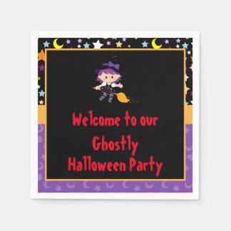 Cute Witch Halloween Costume Party Disposable Napkin