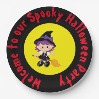 Cute Witch Halloween Costume Party Paper Plate