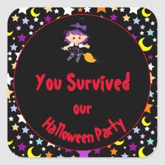 Cute Witch Halloween Costume Party Square Sticker