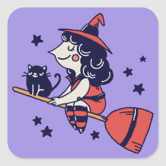 Cute Witch Halloween stickers