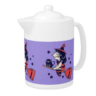 Cute Witch Halloween tea pot