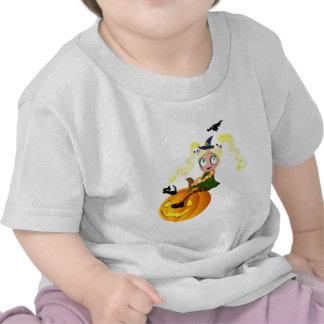 Cute witch on a pumpkin shirt