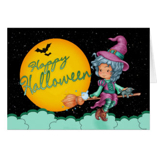 cute witch on broom halloween greeting card