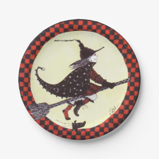 Cute Witch on Broom Paper Plate