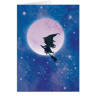 Cute Witch on the Moon card