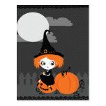 Cute Witch Orange Pumpkin Postcard