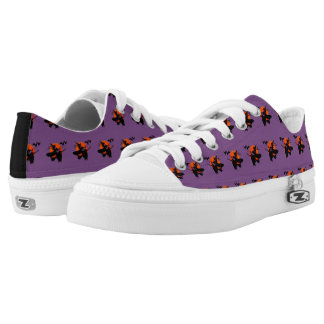 Cute Witch Riding Broom Bat Full Moon Low-Top Sneakers