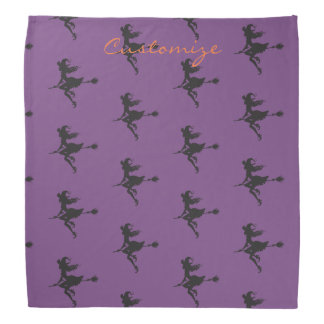 Cute Witch Riding Broom Thunder_Cove Halloween Bandana