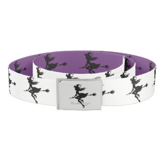 Cute Witch Riding Broom Thunder_Cove Halloween Belt