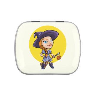Cute witch with broom halloween cartoon