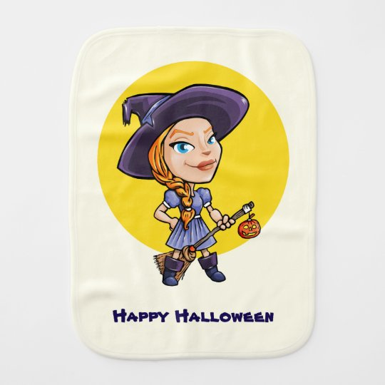 Cute witch with broom halloween cartoon baby burp cloths