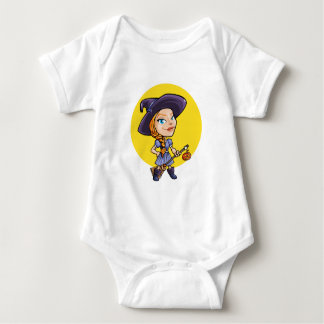 Cute witch with broom halloween cartoon baby shirt