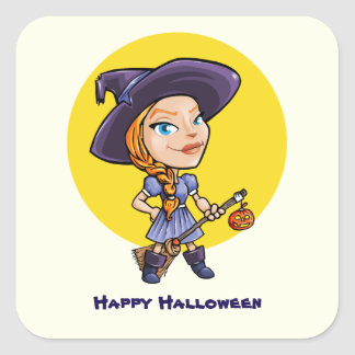 Cute witch with broom halloween cartoon square sticker