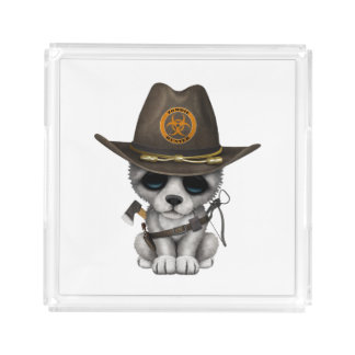 Cute Wolf Cub Zombie Hunter Acrylic Tray