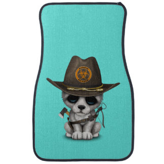 Cute Wolf Cub Zombie Hunter Car Mat