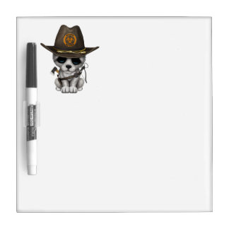 Cute Wolf Cub Zombie Hunter Dry Erase Board