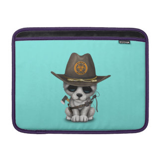Cute Wolf Cub Zombie Hunter MacBook Sleeve